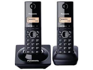 Teléfono de escritorio Panasonic KX-TG1712MEB con capacidad de 50 entradas. Color Negro.