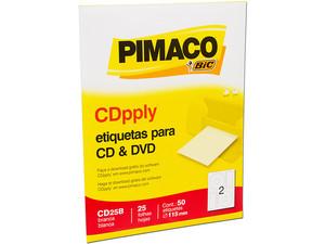 Etiquetas Pimaco Bic Cdpply Para Cd Y Dvd 25 Hojas