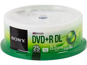 Paquete de 25 DVD+R DL Sony de 8.5 GB, 8x.