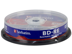 Paquete de 10 Blu-ray Disc BD-RE Verbatim de 25GB, 2x.