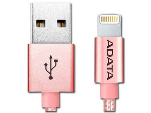 Cable Adata Lightning a USB, 1m. Color Rose Gold.