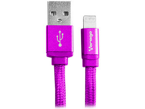 Cable Lightning de 8 Pin a USB A 2.0 para iPod, iPhone y iPad, 1m. Color Rosa.