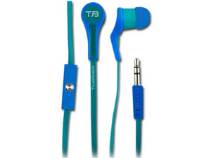 Audifonos True Basix TB-02001con micrófono y cable plano, 3.5mm. Color Azul.