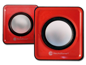 Bocinas portátiles TechZone Multimedia 2.0, USB, 3.5mm. Color Rojo.