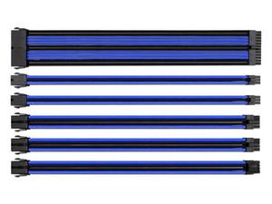 Kit de extensión Eagle Warrior de cable trenzado para fuente de poder. Negro/Azul.