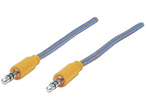 Cable de Audio Manhattan estéreo de 3.5 mm (M-M), 1m. Color Azul/Naranja.
