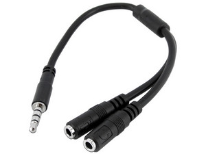 "Cable divisor StarTech en \""Y\"" de 1 x 3.5mm (M) a 2 x 3.5mm (H)."