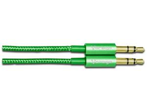 Cable de Audio plano VORAGO estéreo de 3.5 mm (M-M), 1.5m. Color Verde.