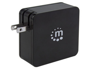 Cargador de pared Universal Manhattan, con función de carga de 60W, USB-A/USB-C. Color Negro.