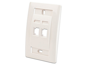 Placa de pared 3M VOL-0712B con 2 ranuras para conectores RJ45. Color Blanco.