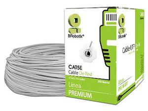Bobina de cable Brobotix (UTP) Cat5e con 200m, 24 AWG. Color Gris.