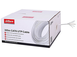 Bobina de cable Dahua PFM923I6, UTP, Cat6, 305 metros, Color blanco.