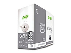 Bobina de Cable Cat5e (UTP) Caja con 100 m, 24 AWG. Color Gris.