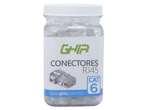 Plugs Ghia RJ-45, Cat 6, UTP, bote con 100 piezas. Color  Blanco.