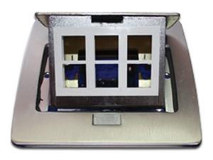 Mini caja Thorsman de piso rectangular para datos y conectores. Color Plateado.