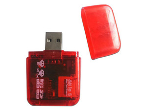 Lector de tarjetas MS Micro (M2)/Memoria extraíble/MicroSD (TransFlash)/SDMicroSD BRobotix, USB 2.0. Color Rojo.