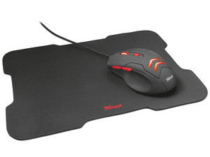 Mouse Gamer Trust Ziva, hasta 3000 dpi, iluminación LED Rojo, USB, incluye Mouse Pad  220 mm x 300 mm, Color Negro.