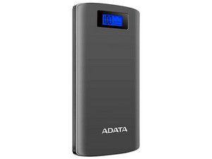 Batería Portátil recargable y linterna LED ADATA AP20000D Power Bank de 20,000 mAh para Smartphones y Tablets. Color Gris.