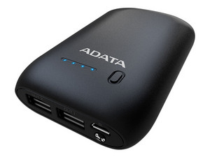 Batería Portátil recargable ADATA AP10050 Power Bank de 10,050 mAh. Color Negro.