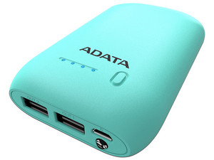 Batería Portátil recargable ADATA Power bank de 10,050 mAh para Smartphones y Tablets. Color azul.