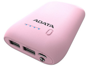 Batería Portátil recargable ADATA AP10050 Power Bank de 10,050 mAh. Color rosa.