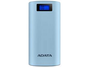Batería Portátil recargable y linterna LED ADATA AP20000D PowerBank de 20,000 mAh para Smartphones y Tablets. Color Celeste.