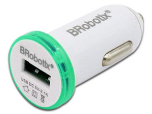 Cargador para auto Brobotix 2.1A, USB. Color Blanco / Verde.