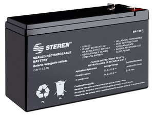 Batería Recargable BR-1207 Steren, sellada de ácido-plomo, 12V, 7Ah
