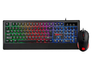 Kit Teclado y Mouse Gamer Thermaltake CM-CHC-WLXXPL-SP RGB, USB.