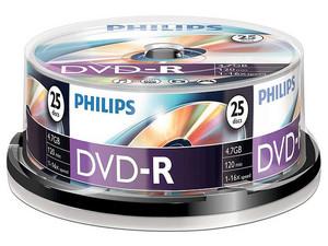 Paquete de 25 DVD-R Philips de 4.7 GB/120 min, 16x, imprimibles.