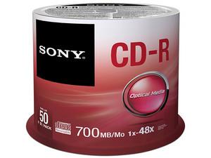 Paquete de CD-R Sony de 700MB, 80 min., 48x, de 50 piezas