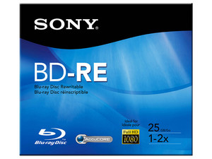 BD-RE Sony Re-grabable de doble capa, 25 GB, 2x, 1 pieza