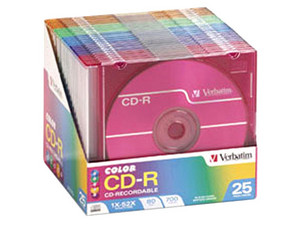 Paquete de 25 Color CD-R Verbatim de 700MB / 52X