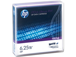 Cartucho de datos regrabable HP LTO-6 Ultrium de hasta 6.25 TB.