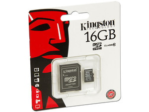 Memoria Kingston microSDHC de 16GB, Clase 10, incluye adaptador SD.