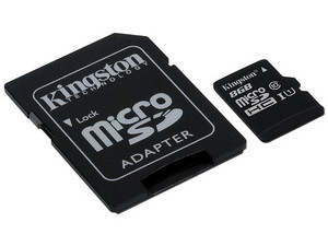 Memoria Kingston Micro SDHC UHS-I U1 de 8 GB, clase 10 incluye adaptador SD.