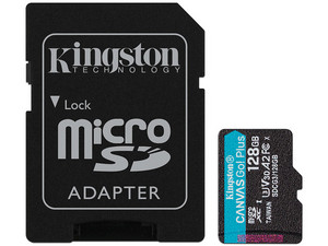 Memoria MicroSDXC Kingston CANVAS Go! Plus de 128 GB, UHS-II U3, Clase 10. Incluye adaptador SD.