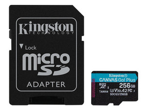 Memoria Kingston Canavas Go Plus MicroSDXC de 256 GB Clase 10, incluye adaptador SD.