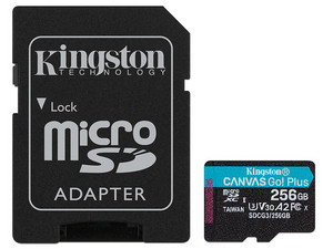 Memoria MicroSDXC Kingston CANVAS Go! Plus de 256GB, UHS-II U3, Clase 10. Incluye adaptador SD.