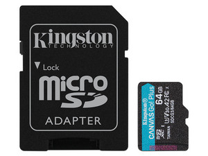 Memoria Kingston Canavas Go Plus MicroSDXC de 64 GB Clase 10, incluye adaptador SD.