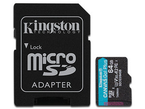Memoria MicroSDXC Kingston CANVAS Go! Plus de 64GB, UHS-II U3, Clase 10. Incluye adaptador SD.