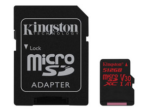 Memoria Kingston MicroSDXC UHS-I U3 V30 A1 de 512GB, Clase 10, incluye Adaptador SD.
