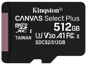 Memoria Kingston MicroSD Canvas Select Plus SDCS2/512GBSP de 512 GB, Clase 10. No incluye adaptador Micro SD.