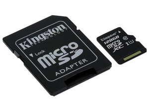 Memoria Kingston microSDXC de 128 GB Clase 10, incluye adaptador SD.