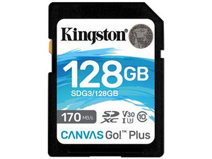 Memoria Kingston Canvas Go! Plus SDXC UHS-1 U3 de 128GB, Clase 10.