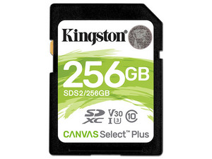 Memoria Kingston Canvas Select Plus SDXC de 256 GB, clase 10.