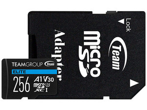 Memoria TeamGroup Elite MicroSDXC UHS-I U3 V30 A1 de 256GB, Clase 30, Incluye adaptador.