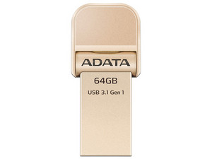Unidad Flash USB 3.0/Lightning ADATA para iPhone y iPad de 64 GB. Color Oro.