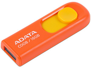 Unidad Flash USB 2.0 ADATA C008 de 16GB, Color Naranja.