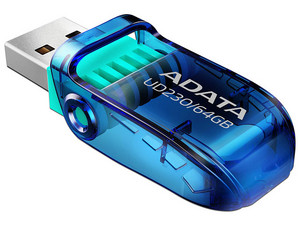 Unidad Flash USB 2.0 ADATA UD230 de 64GB. Color Azul.